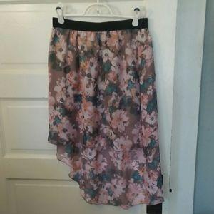 Hi lo floral midi skirt